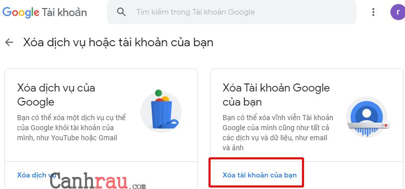 Cách xóa tài khoản gmail và google hình 10
