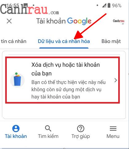 Cách xóa tài khoản gmail và google hình 13