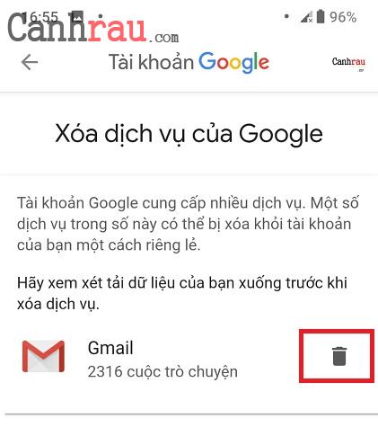 Cách xóa tài khoản gmail và google hình 15