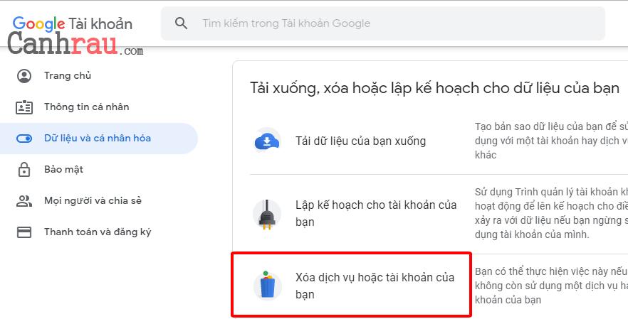 Cách xóa tài khoản gmail và google hình 3