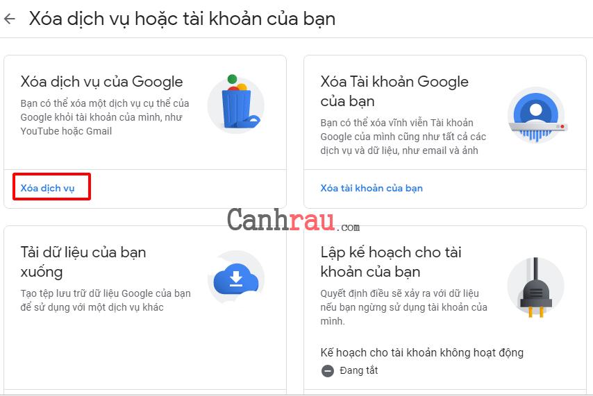Cách xóa tài khoản gmail và google hình 4