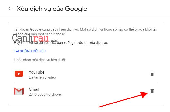 Cách xóa tài khoản gmail và google hình 5