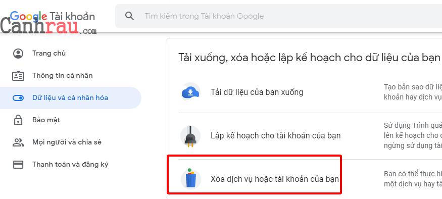 Cách xóa tài khoản gmail và google hình 9