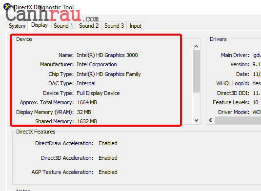 Cách kiểm tra thông số card màn hình máy tinh hình 2