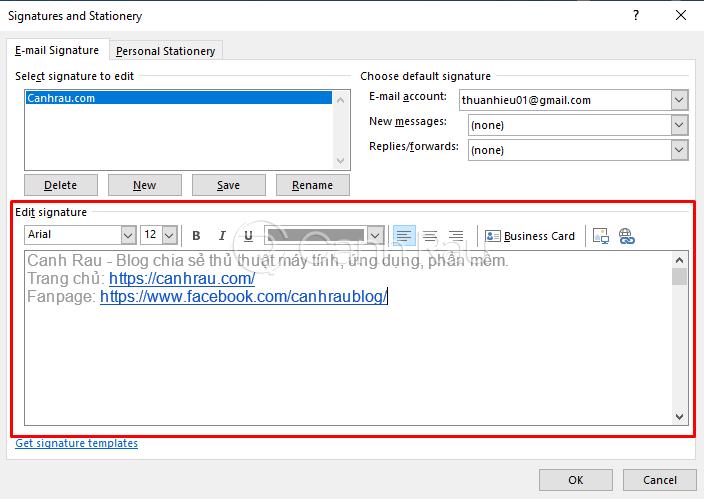 Hướng dẫn cách tạo chữ ký trong Outlook hình 5