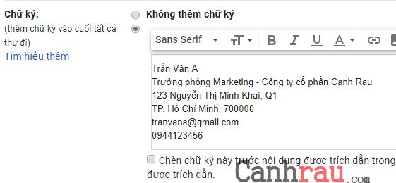 Tạo chữ ký trong Gmail chuyên nghiệp nhất hình 4