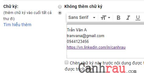 Tạo chữ ký trong Gmail chuyên nghiệp nhất hình 5
