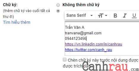 Tạo chữ ký trong Gmail chuyên nghiệp nhất hình 6