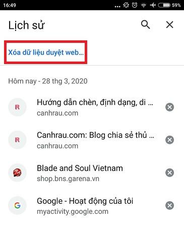 Cách xóa lịch sử duyệt web tìm kiếm của Google hình 14