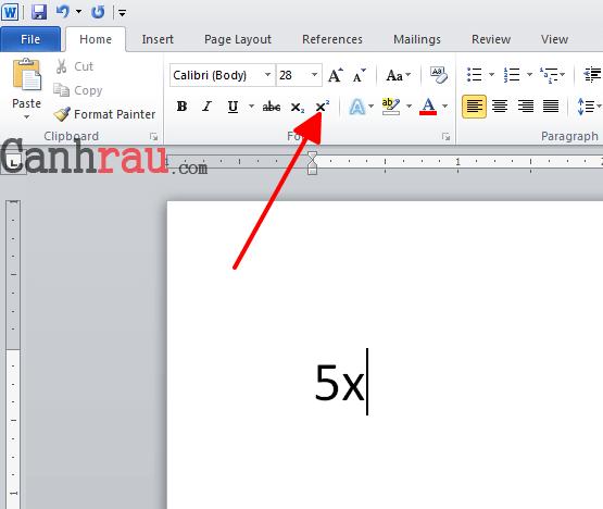 Cách chèn số mũ trong Word hình 1