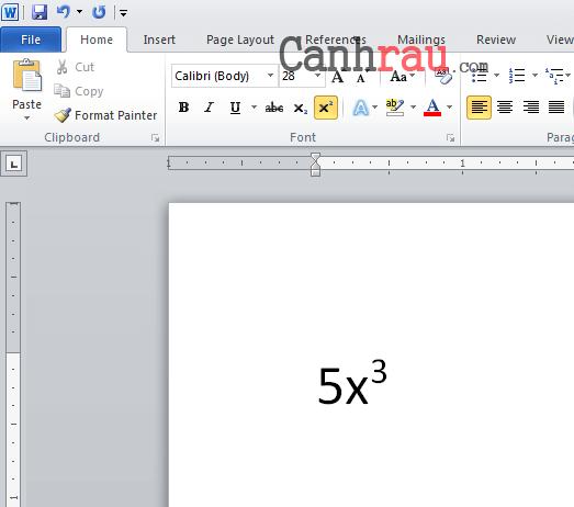 Cách chèn số mũ trong Word hình 2