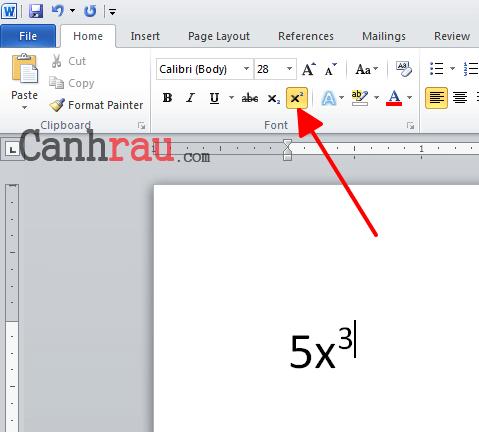 Cách chèn số mũ trong Word hình 3