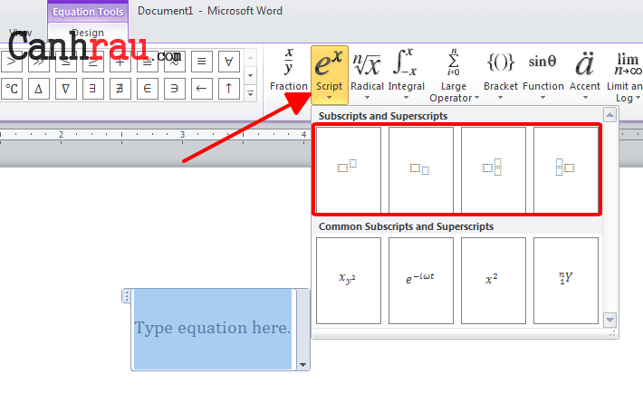 Cách chèn số mũ trong Word hình 8