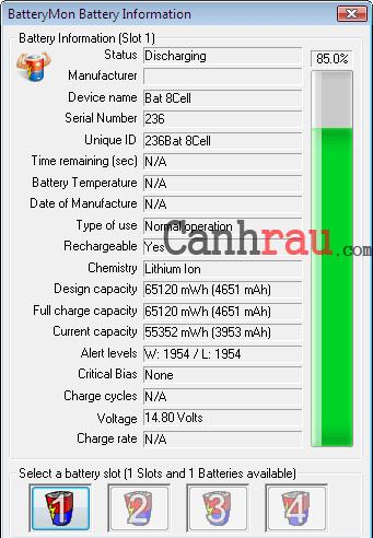 Phần mềm kiểm tra pin Laptop hình 4