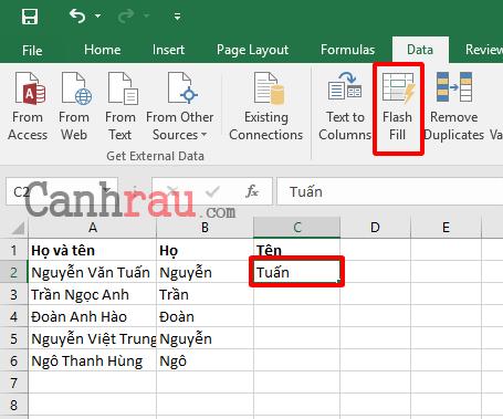 Cách tách họ và tên trong Excel nhanh nhất hình 12