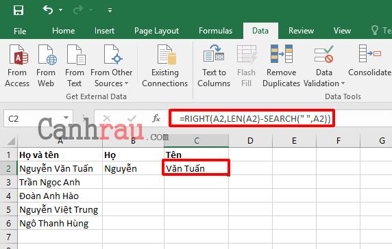 Cách tách họ và tên trong Excel nhanh nhất hình 7
