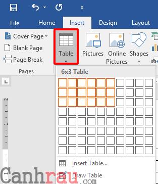 Cách tạo bảng và kẻ bảng trong Word hình 1