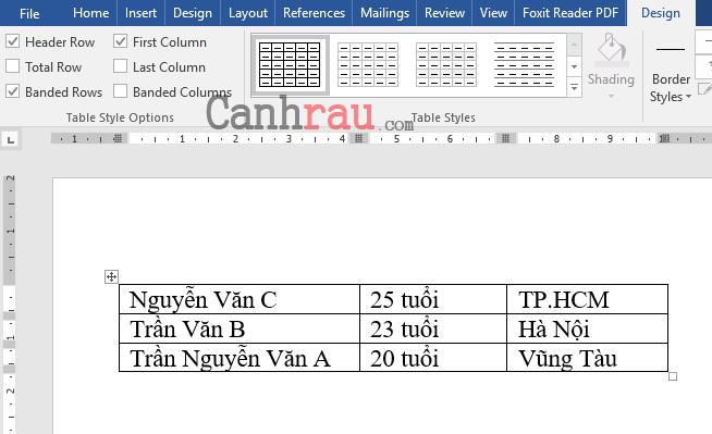Cách tạo bảng và kẻ bảng trong Word hình 12