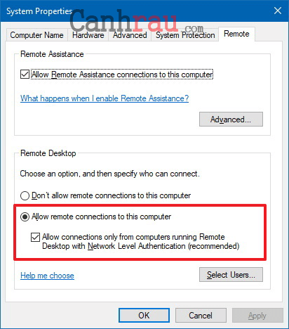 Hướng dẫn sử dụng remote desktop connection trên windows 10 hình 8