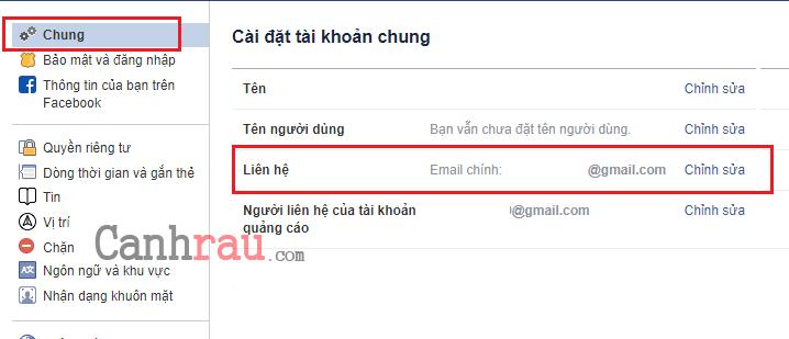 Cách đổi Email đăng nhập trên Facebook hình 2