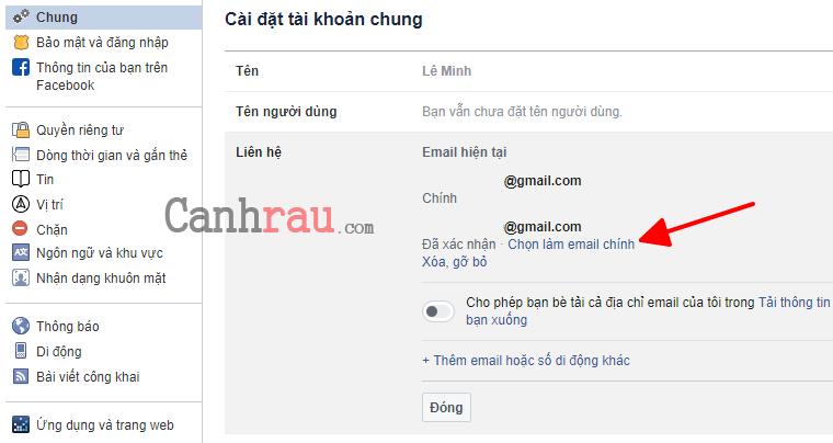 Cách đổi Email đăng nhập trên Facebook hình 9