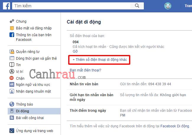 Cách đổi số điện thoại trên Facebook hình 2