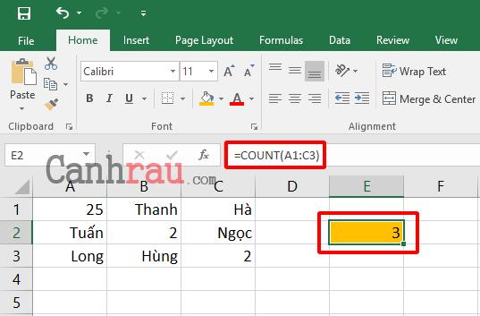 Cách sử dụng hàm đếm COUNT trong Excel hình 1