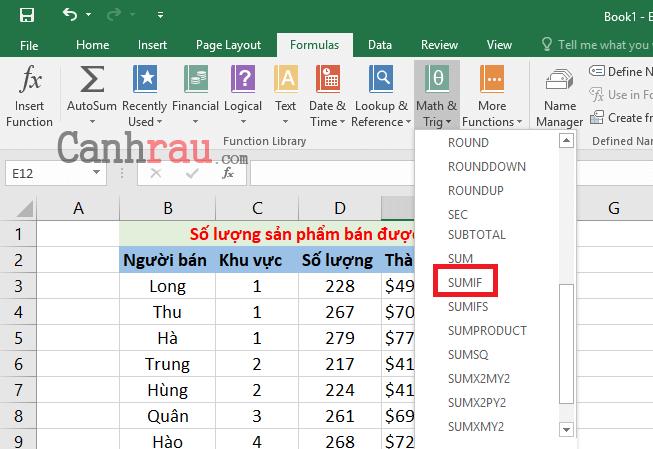 Cách sử dụng hàm SUMIF trong Excel hình 2