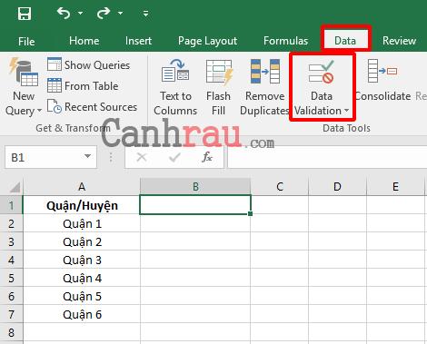 Tạo danh sách thả xuống trong Excel hình 1