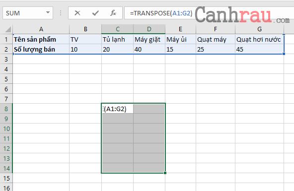 Cách chuyển hàng thành cột trong Excel hình 6