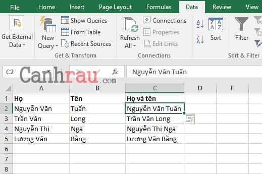Cách gộp ô trong Excel hình 10