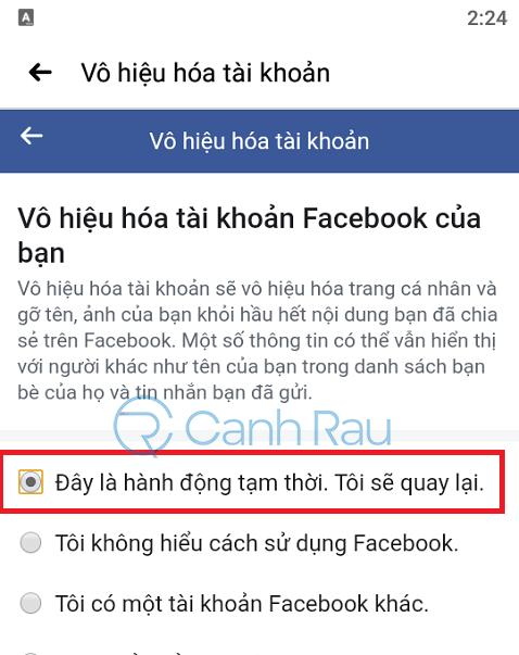 Cách khóa tài khoản Facebook tạm thời hình 10