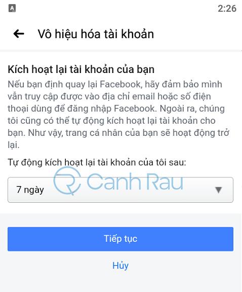 Cách khóa tài khoản Facebook tạm thời hình 11