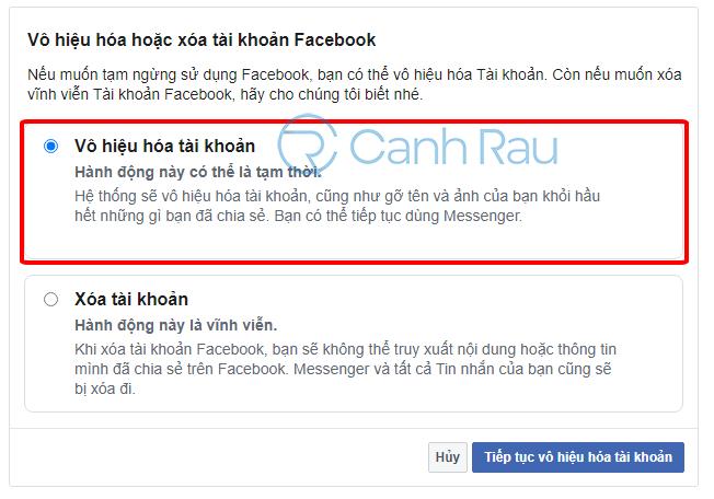 Cách khóa tài khoản Facebook tạm thời hình 3