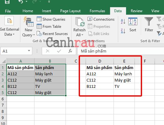 Cách lọc dữ liệu trùng nhau trong Excel hình 3