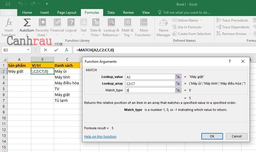 Cách sử dụng hàm Match trong Excel hình 3