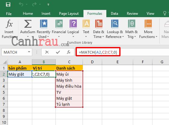 Cách sử dụng hàm Match trong Excel hình 4