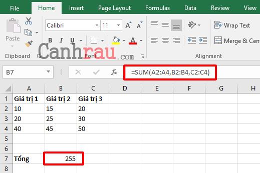 Cách sử dụng hàm SUM để tính tổng trong Excel hình 2
