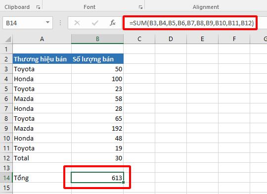Cách sử dụng hàm SUM để tính tổng trong Excel hình 6