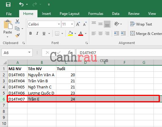 Cách thêm dòng trong Excel hình 4