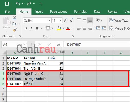Cách thêm dòng trong Excel hình 5