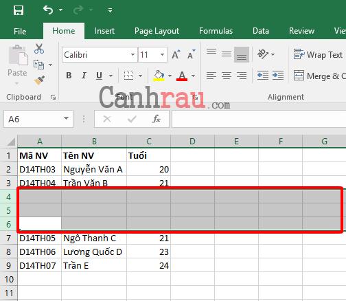 Cách thêm dòng trong Excel hình 6