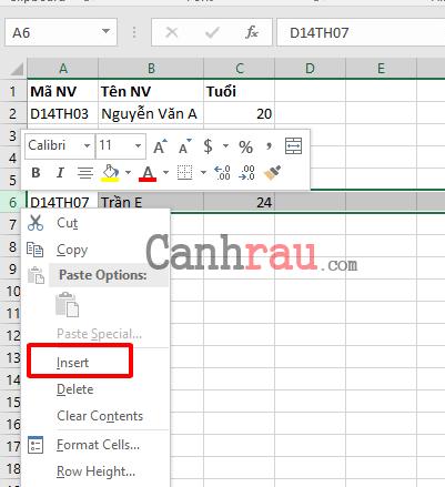Cách thêm dòng trong Excel hình 8