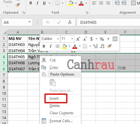 Cách thêm dòng trong Excel hình 9