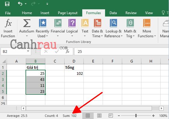 Cách tính tổng trong Excel hình 1