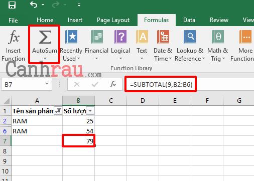 Cách tính tổng trong Excel hình 10