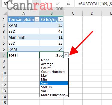 Cách tính tổng trong Excel hình 12