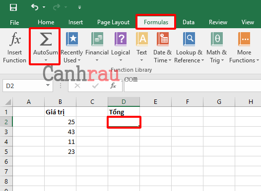 Cách tính tổng trong Excel hình 2