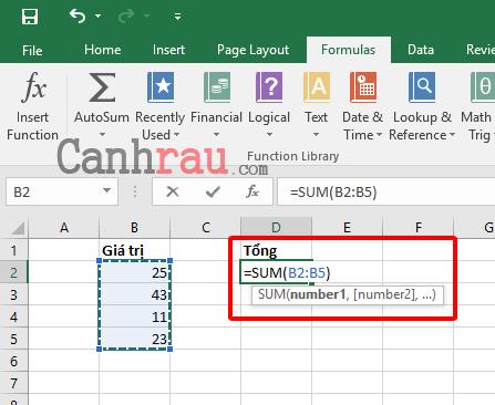 Cách tính tổng trong Excel hình 3