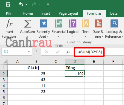 Cách tính tổng trong Excel hình 4